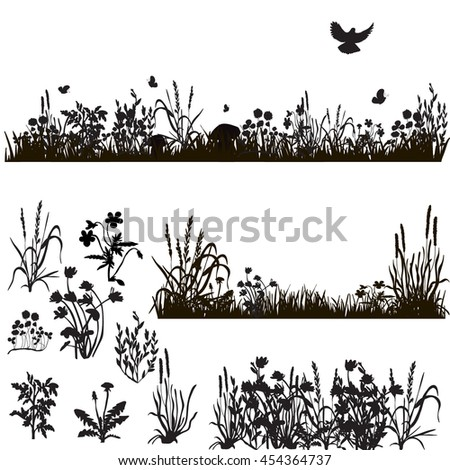 silhouette of grass and plants, in isolation,vector, isolated,set