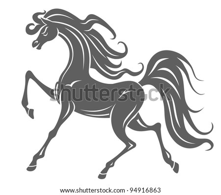 Silhouette of gray horse foal for equestrian design, such logo. Jpeg version also available in gallery - stock vector