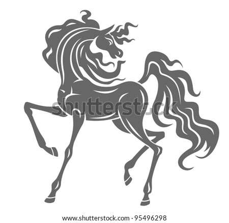 Silhouette of gray stallion in cartoon style for equestrian design, such a logo - stock vector