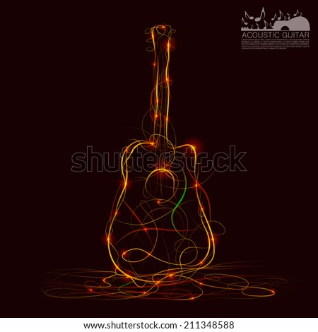Silhouette of guitar fire. Vector illustration - stock vector