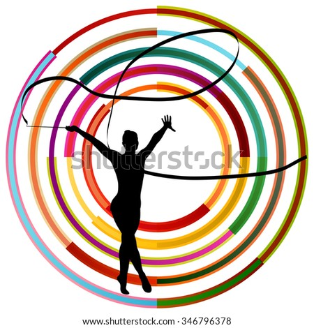 Silhouette of gymnast girl art gymnastics with ribbon abstract colorful circle background concept vector - stock vector
