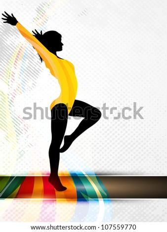 Silhouette of gymnastic girl on abstract grungy colorful wave background. EPS10. - stock vector