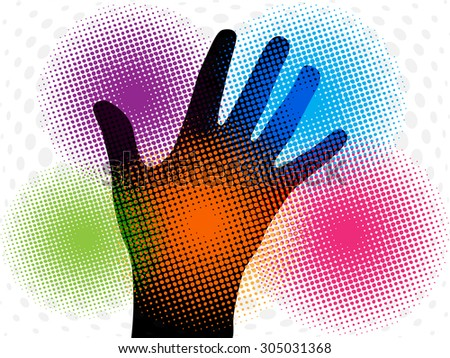 Silhouette of hand with colorful halftone abstract effect