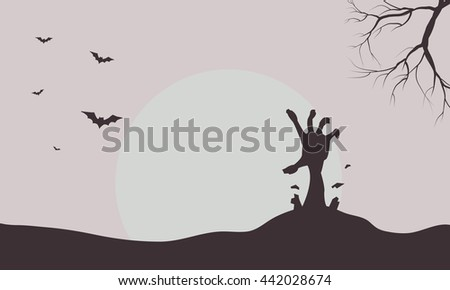 Silhouette of hand zombie and bat illustration - stock vector