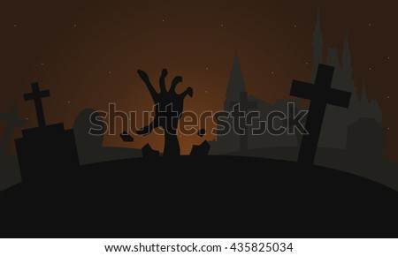 Silhouette of hand zombie scary halloween brown backgrounds - stock vector
