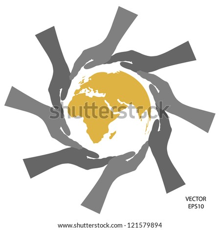 SIlhouette of hands  around the world ,the concept of green environment ,green environment sign,the concept of business icon,business symbol,vector - stock vector