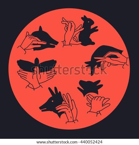 Silhouette of Hands gesture. Vector - stock vector