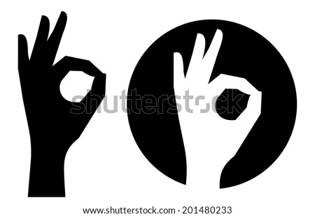 Silhouette Hands Showing Symbol All Ok Stockvector 201480233