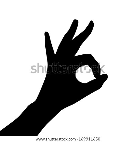 Silhouette of hands showing symbol of all ok. Vector EPS 10 illustration. - stock vector