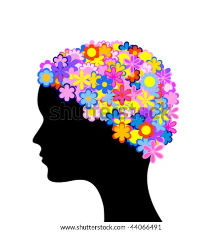 silhouette of head of woman with flowers
