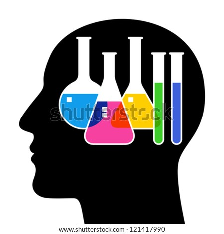 SIlhouette of head with laboratory glassware - stock vector