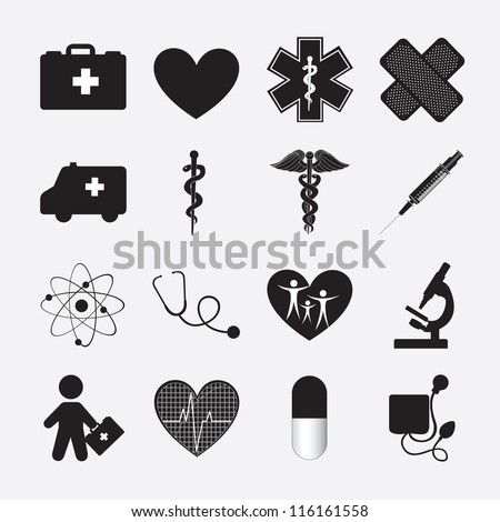 silhouette of Health icon over white background - stock vector