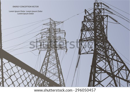 Silhouette of high voltage power lines, chain link fence on blue background. Vector illustration.