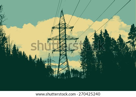 silhouette of high-voltage tower, forest and cloud. retro style. vector illustration - stock vector