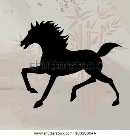 Silhouette of horse running - stock vector