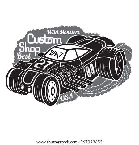 silhouette of hot rod car in smoke with best custom shop lettering