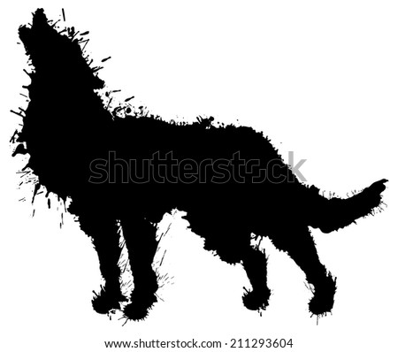 Silhouette of howling woolf painted by splatters. Vector illustration.