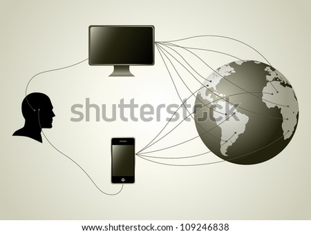 Silhouette of human head figure having wire connection with computer and smartphone - stock vector