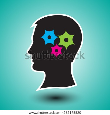 silhouette of human head with gears.Problem solving process - stock vector