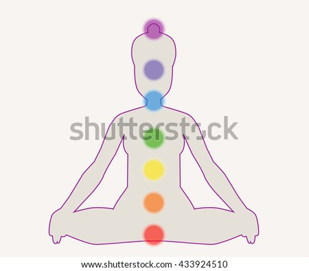 chakras information isolated minimalistic icons high stock