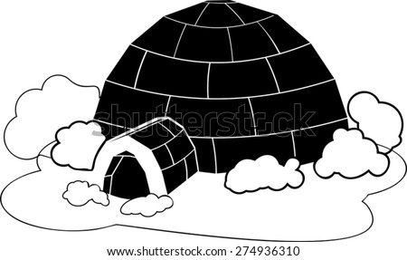 Silhouette of igloo - stock vector