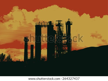 silhouette of industrial landscape, a factory working with raw stone. vector illustration