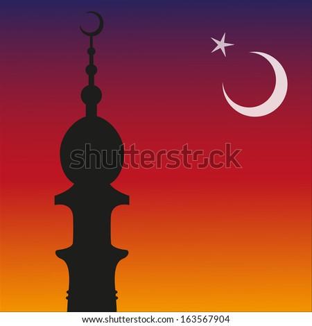 Silhouette of Islamic Mosque and Ramadan. Moon. Vector eps10 - stock vector