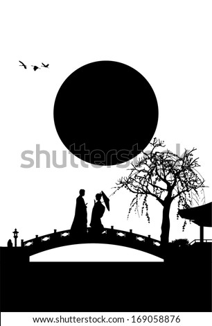 Silhouette Of Japanese Couple On The Bridge Vector