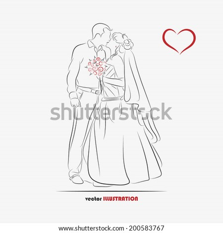Silhouette of kissing bride and groom for greeting card or wedding invitation