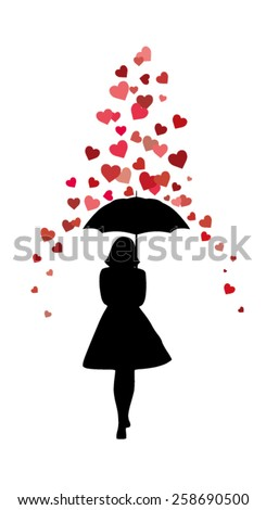 Silhouette of Lady with Umbrella under the Rain of Hearts  - stock vector