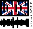silhouette of London Skyline and London flag text illustration - stock vector