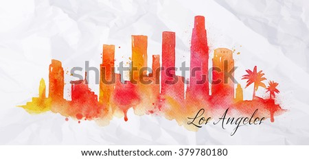 Silhouette of Los Angeles city painted with splashes of  watercolor drops streaks landmarks in orange with red - stock vector