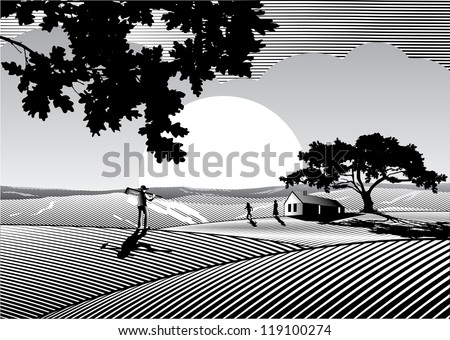Silhouette of lovely family, tree and  house at farm field in woodcut style - stock vector