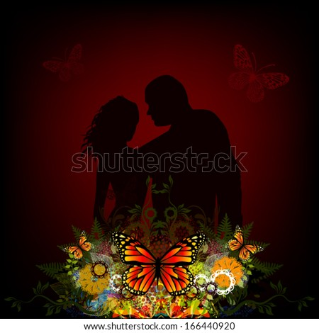 Silhouette of lovers with a floral abstraction. Vector - stock vector