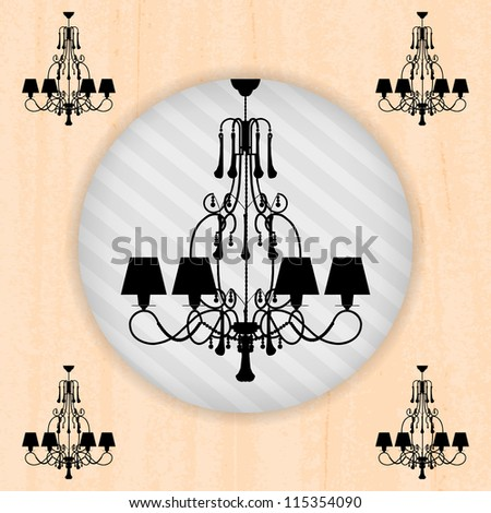 silhouette of luxury chandelier on a scratched peachy wallpaper/ template design of invitation with chandelier - stock vector