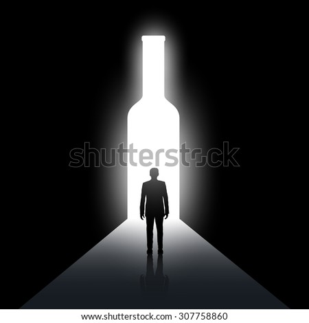 Silhouette of man and the bottle. Alcoholism and drunkenness. Stock vector image. - stock vector