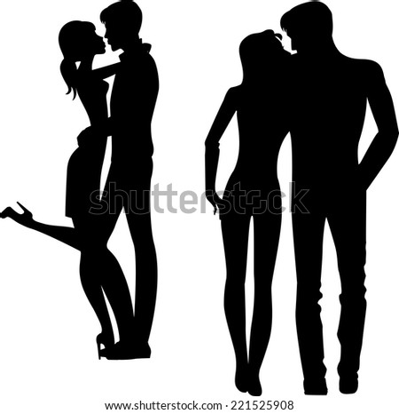 silhouette of man and woman embracing - stock vector