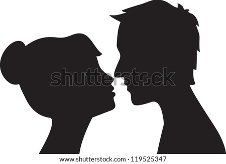 silhouette of man and woman head profile couple kissing