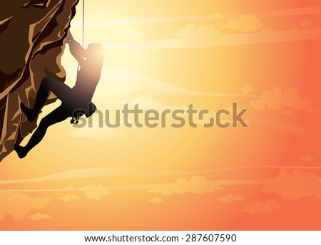 Silhouette of man climbing on a stone wall on the sunset sky background. Vector illustration of sport. - stock vector