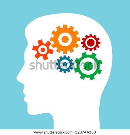Silhouette of man head with gears isolated