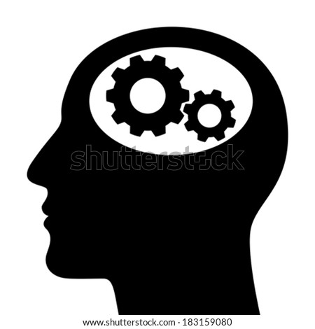 Silhouette of man head with gears isolated on white background
