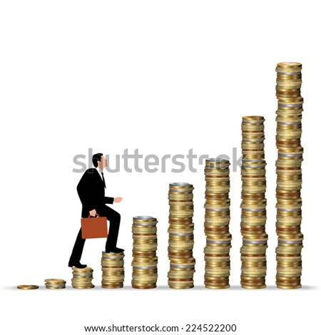 Silhouette of man hopping on gold coins. Vector illustration