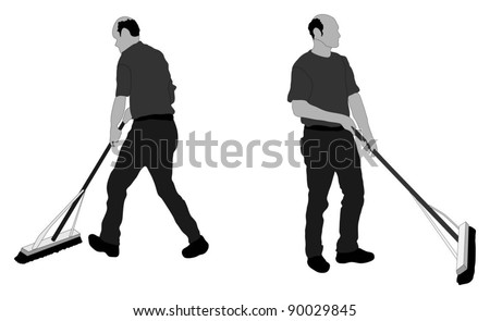 Silhouette of man sweeping the floor - stock vector