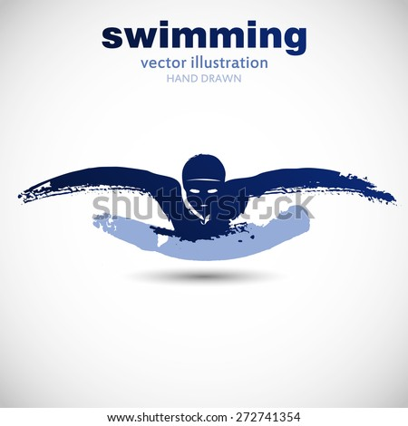 Silhouette of man swimmer butterfly stroke. In the style of painting, ink and brush on paper texture. Designed for sporting events, competitions, tournaments, vector illustrations. - stock vector