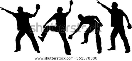 silhouette of man throwing objects - stock vector