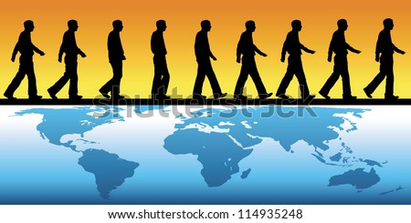 silhouette of man walking across a map of the world - stock vector