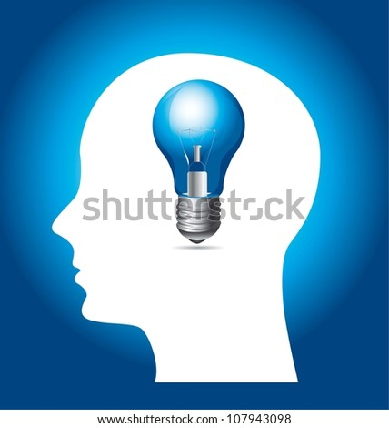 Silhouette of man with blue bulb. vector illustration - stock vector