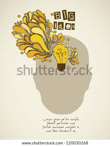 Silhouette of man with bulb representing an idea, vector illustration - stock vector
