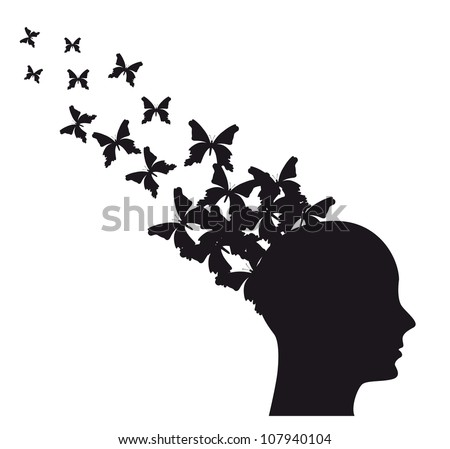 Silhouette of man with butterflies flying. vector illustration - stock vector
