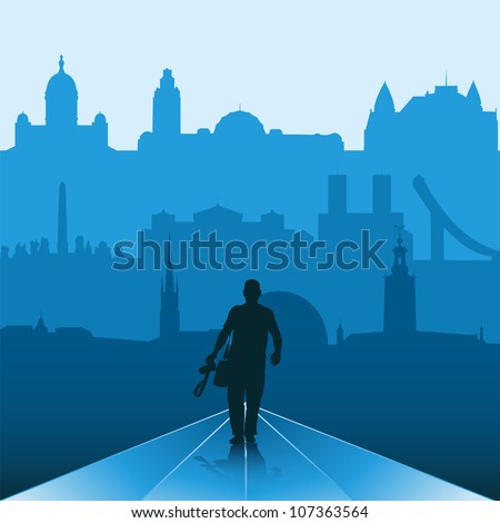 Silhouette of man with camera and capitals of Scandinavia on the background - stock vector